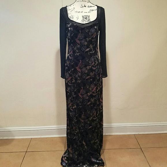 Bob Mackie Dresses | Nwot Boutique Beaded Floral Black Gown | Poshmark